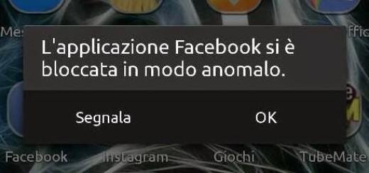 L'applicazione Facebook si è bloccata in modo anomalo