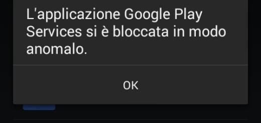 L'applicazione Google Play Services si è bloccata in modo anomalo