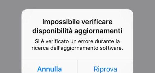 iphone impossibile verificare disponibilità aggiornamenti